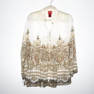 V Cristina Tops - V Cristina Blouse Womens Medium Popover Semi Sheer